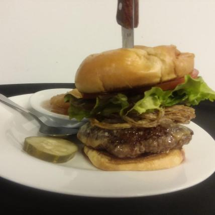 House burger with fried onions & chipotle mayo